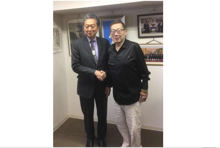 日本政治家前首相鸠山由纪夫2019年7月1日在东京会晤本社副社长徐强