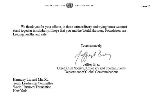 联合国秘书长古特雷斯委托全球传播部给WHF抗疫青少儿回函